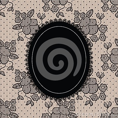 Black elegant doily on lace background