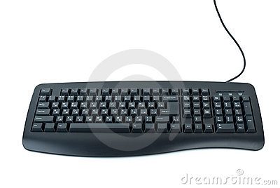 Black ergonomic computer keyboard