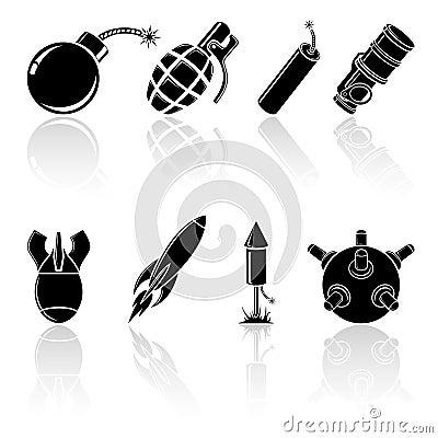 Black explosive icons