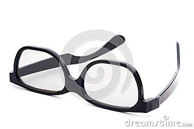 Black eye-glasses with tinted lenses