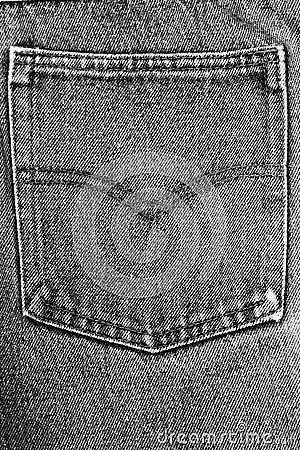 Black fabric jean pocket