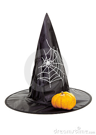 Black fabric witch hat with pumpkin for Halloween