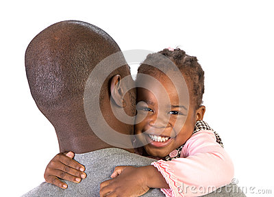 Black Father Holding Daughter on Shoulder