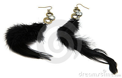 Black Feather Fashion Earrings