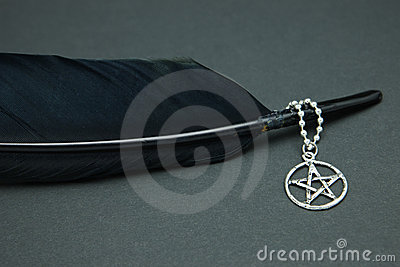 Black feather quill and pentacle necklace