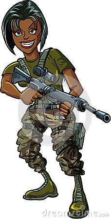 Black female soldier with assault rifle