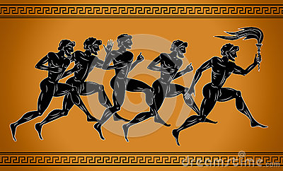 Black-figured sport runners with the torch. Illustration in the ancient Greek style. The concept of the sport Games.