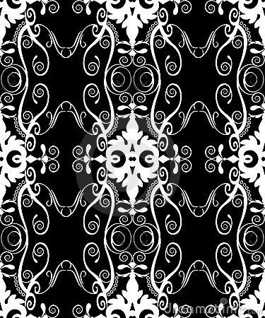 Black filigree damask
