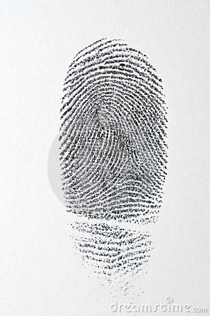 Black fingerprint on white paper