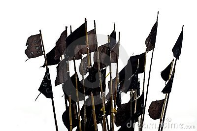 Black flags, isolated