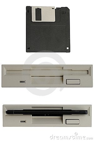 Black floppy disk and floppy drive