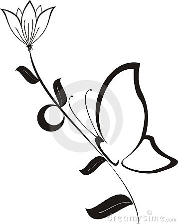 Black flower with butterfly, vector