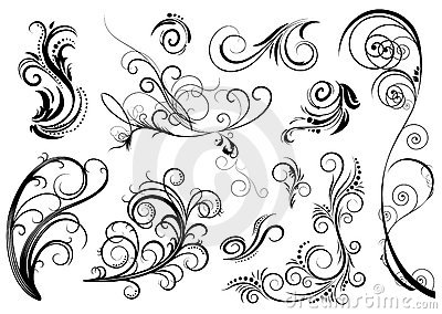 Black flower design elements