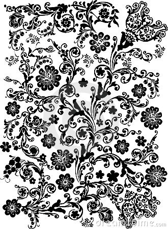 Black flower pattern on white