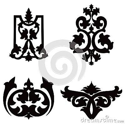Black flower silhouette  pattern