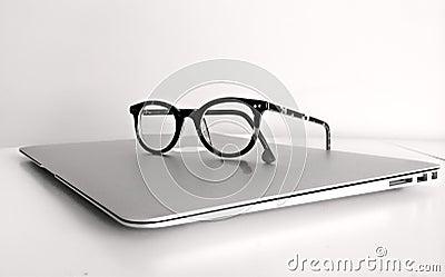 Black Frame Eyeglasses On Silver Macbook Air Free Public Domain Cc0 Image