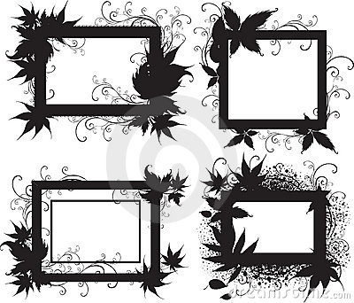 Black frames with Autumn Leafs. Thanksgiving
