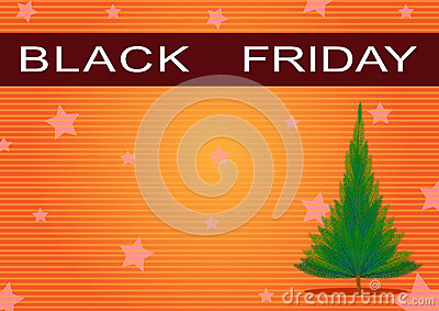 Black Friday Banner and Christmas Tree on Orange B