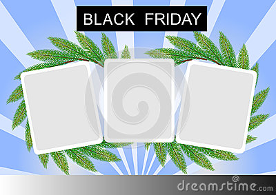 Black Friday Banner and Three Square Sticker on St