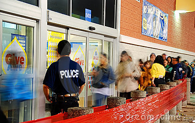 Black Friday Crowd control Editorial Photography