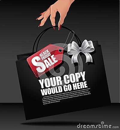 Free Black Friday Hand Holding Shopping Bag Background Royalty Free Stock Photos - 60261928
