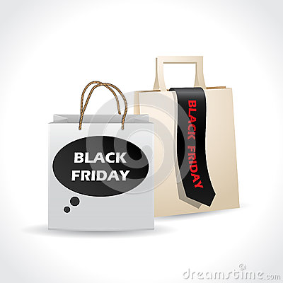 Black friday paperbags on white background