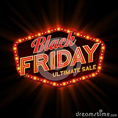 Free Black Friday Retro Light Frame. Vector Royalty Free Stock Photography - 59181397