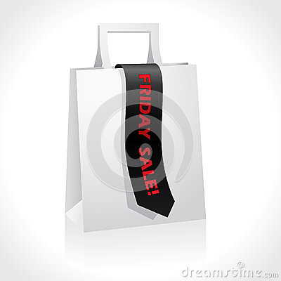 Black friday ribbon on white paperbag