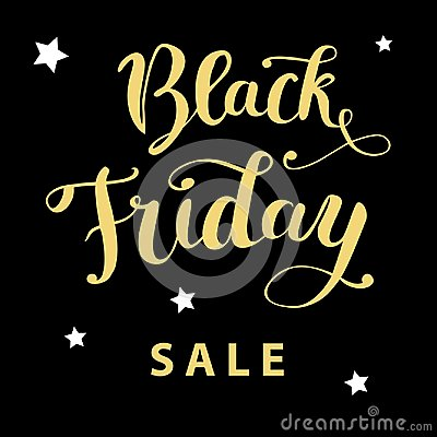 Free `Black Friday Sale`hand Lettering Golden Text On A Black Background Stock Photo - 103456090