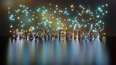 Black Friday text in 3D with reflective particles background. Sales promotion banner. Black Friday text in 3D with reflective particles background. Sales royalty free illustration