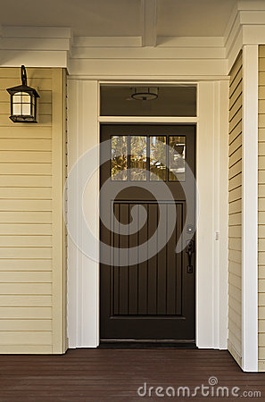 Black front door of a home