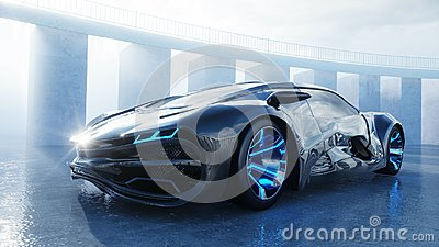 Black futuristic electric car on seafront. Urban fog. Concept of future. 3d rendering. Stock Photo