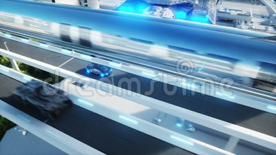 Black futuristic electric car very fast driving in sci fi sity, town. Concept of future. Realistic 4k animation. Black futuristic electric car very fast driving stock illustration