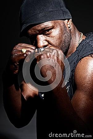 Black gangster men fight portrait high contrast