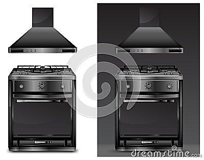 Black gas cooker over