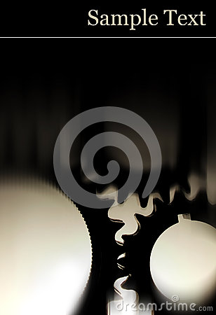Black gears with black background with copy space