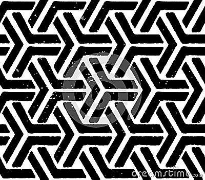 Black geometric seamless pattern Vector Illustration