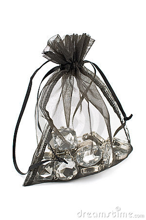 Free Black Gift Sack With Diamonds Stock Images - 23327754