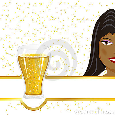 Black girl and beer