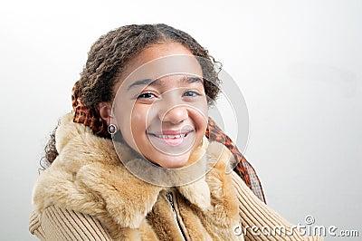 Black girl with fur jacket