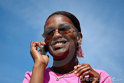Black girl on phone