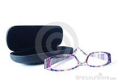 Black glass case with glasses