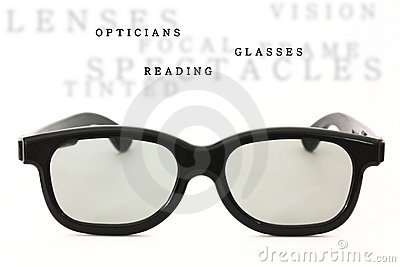 Black glasses isolated with sample text