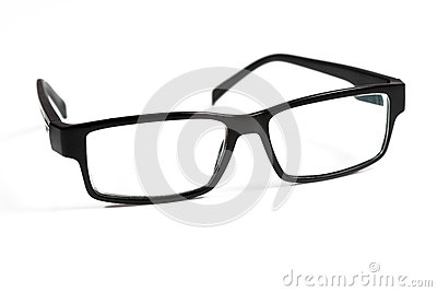 Black glasses on white