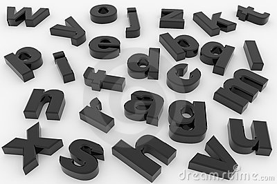 Black glossy 3D letters