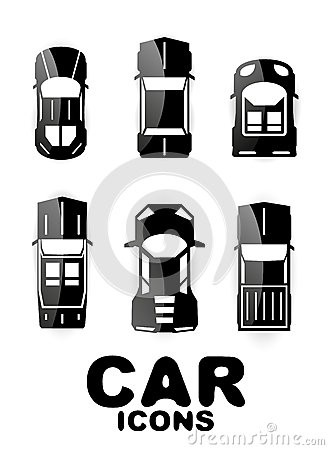 Black glossy car icon set