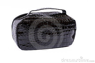 Black glossy handbag