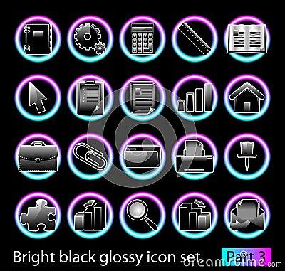 Black glossy icon set 3