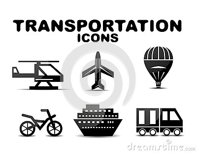 Black glossy transportation icon set