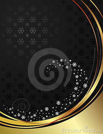 Black and gold background with snowflakes.